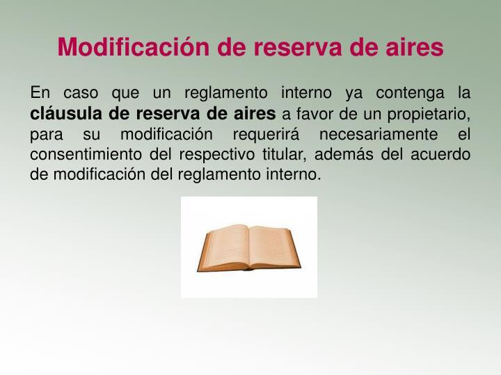 Modificación de reserva de aires