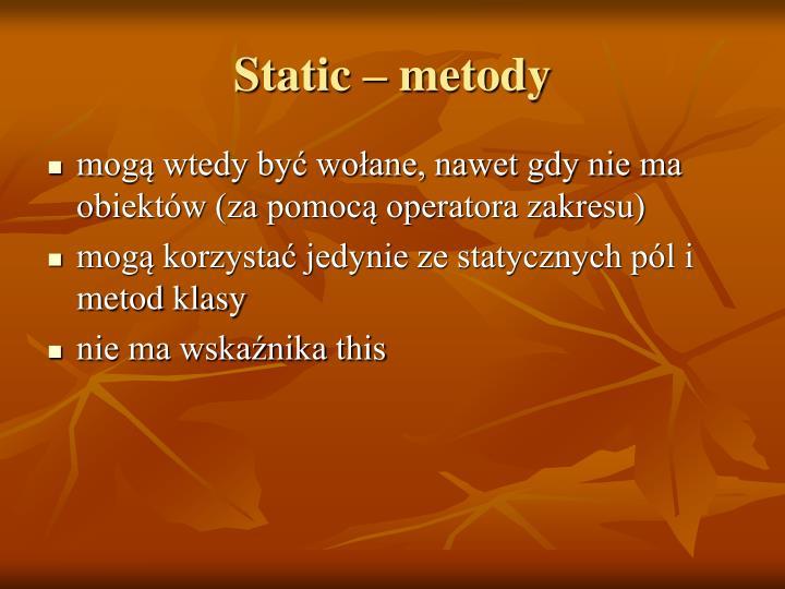 Static – metody