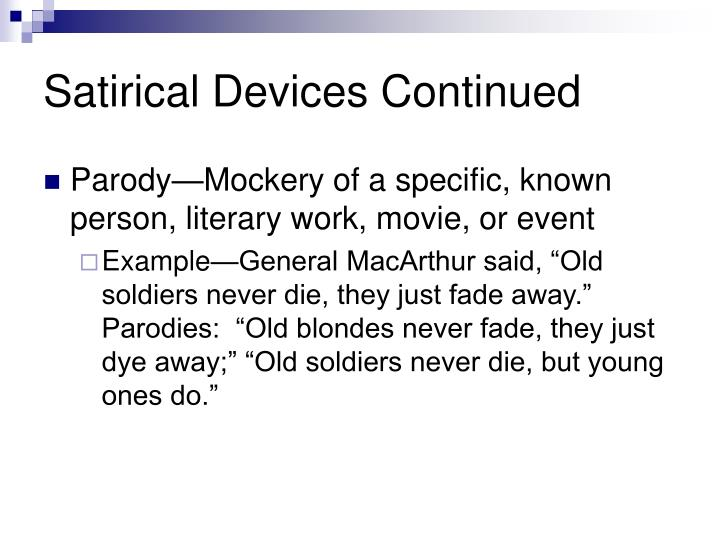 what are satirical devices