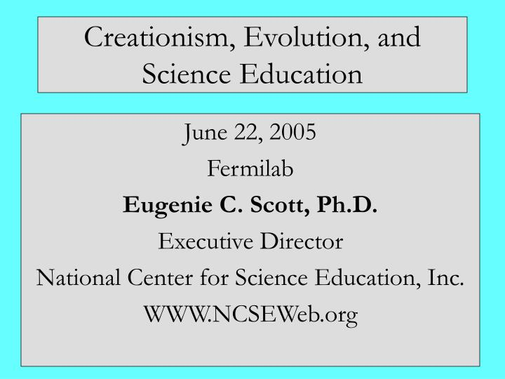 creationism evolution and science education n.