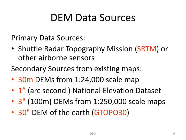 PPT Digital Elevation Models And Relief Models PowerPoint - Dem data sources