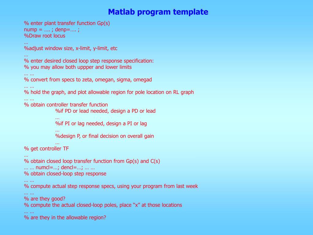 PPT - Matlab program template PowerPoint Presentation - ID