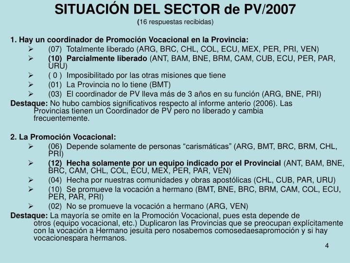 SITUACIÓN DEL SECTOR de PV/2007