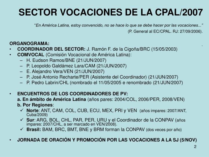 SECTOR VOCACIONES DE LA CPAL/2007