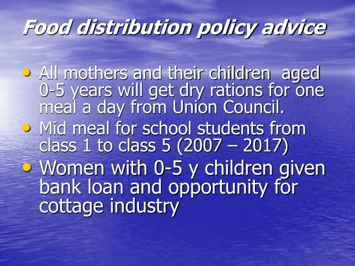 Food distribution policy advice