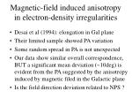 magnetic field induced anisotropy in electron density irregularities
