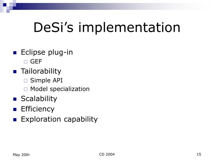 DeSi's implementation