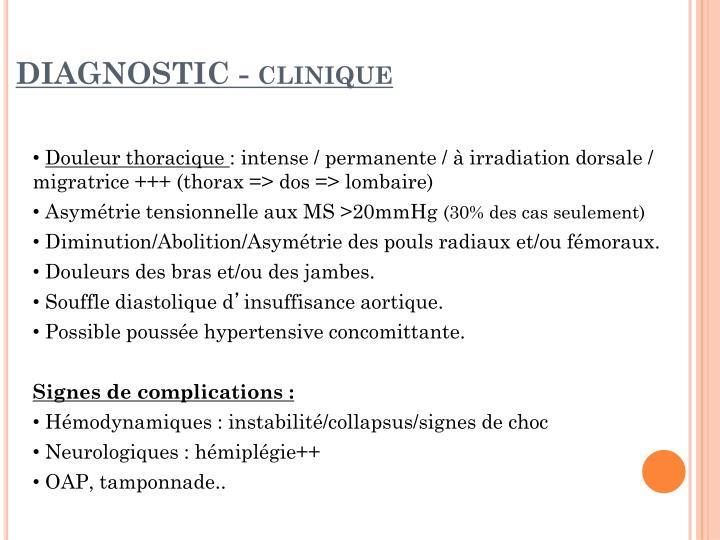 Diagnostic clinique