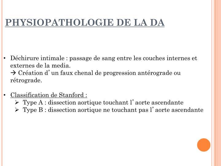 Physiopathologie de la da