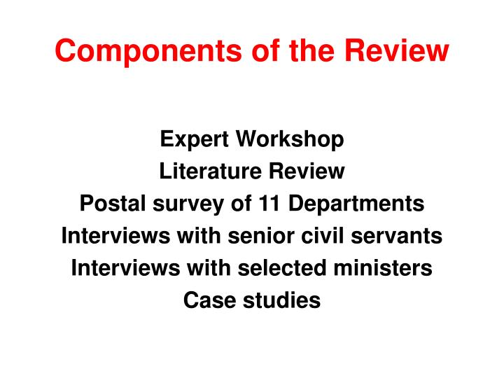 Components of the review