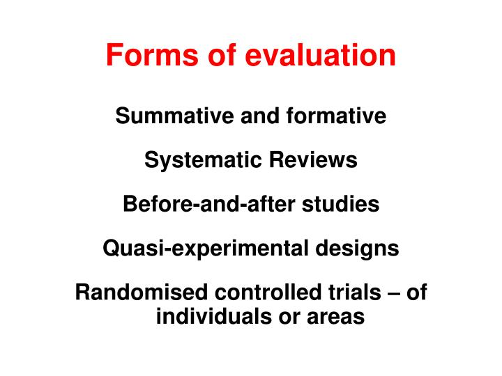 Forms of evaluation