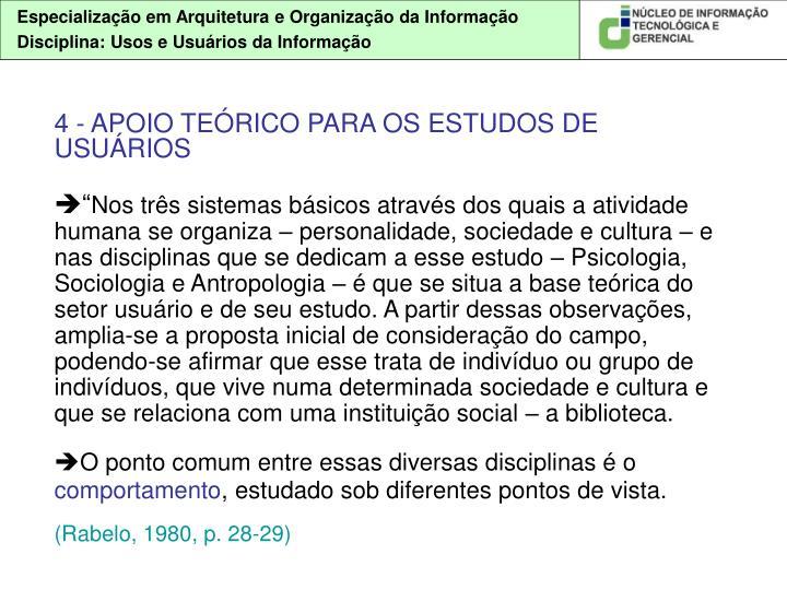 4 - APOIO TEÓRICO PARA OS ESTUDOS DE USUÁRIOS