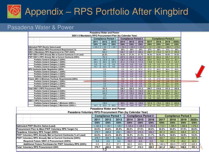 Appendix – RPS Portfolio After Kingbird