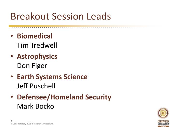 Breakout Session Leads