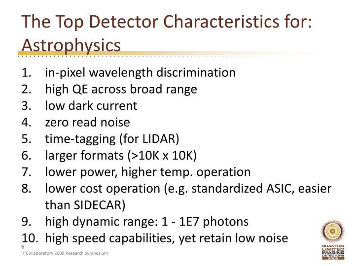 The Top Detector Characteristics for: Astrophysics