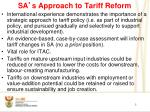 sa s approach to tariff reform