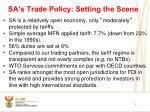 sa s trade policy setting the scene