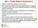 sa s trade reform experience