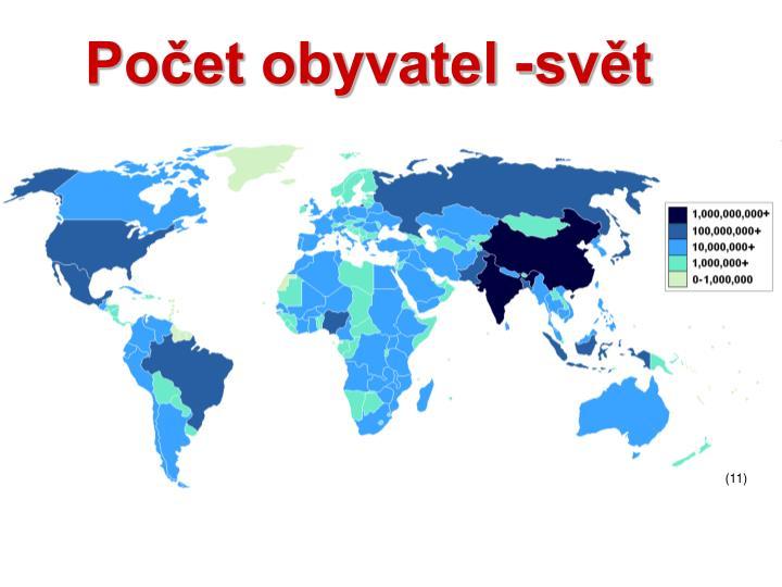 Počet obyvatel -svět
