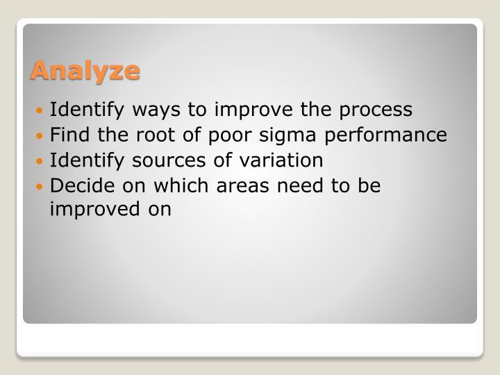Identify ways to improve the process