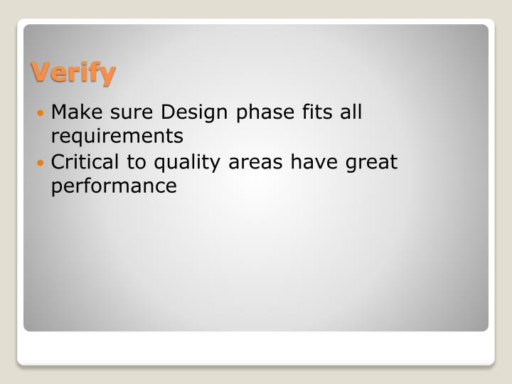Make sure Design phase fits all requirements