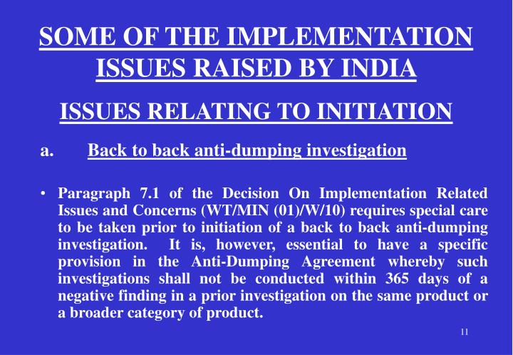 SOME OF THE IMPLEMENTATION ISSUES RAISED BY INDIA