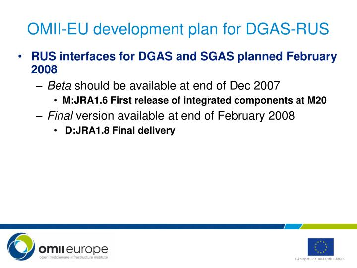 Omii eu development plan for dgas rus