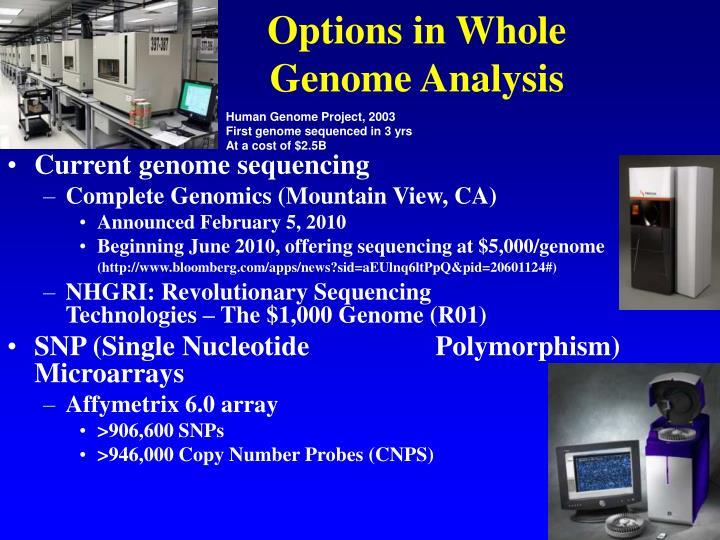 Options in Whole               Genome Analysis