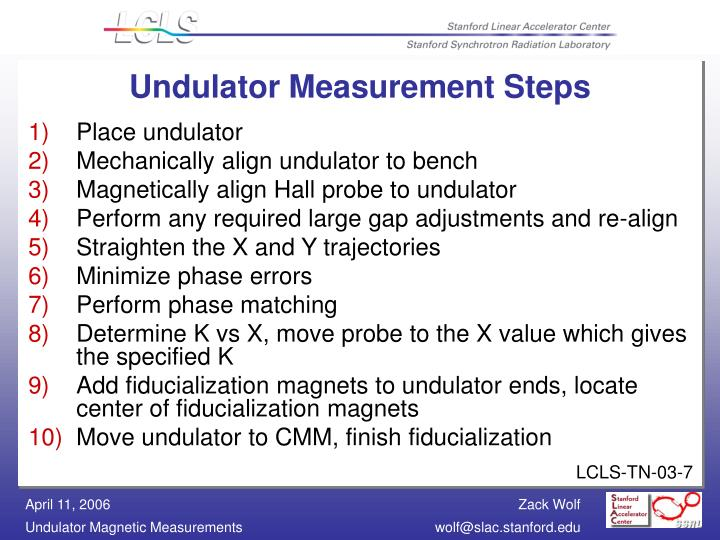 Undulator Measurement Steps