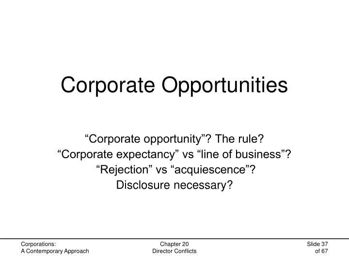 Corporate Opportunities