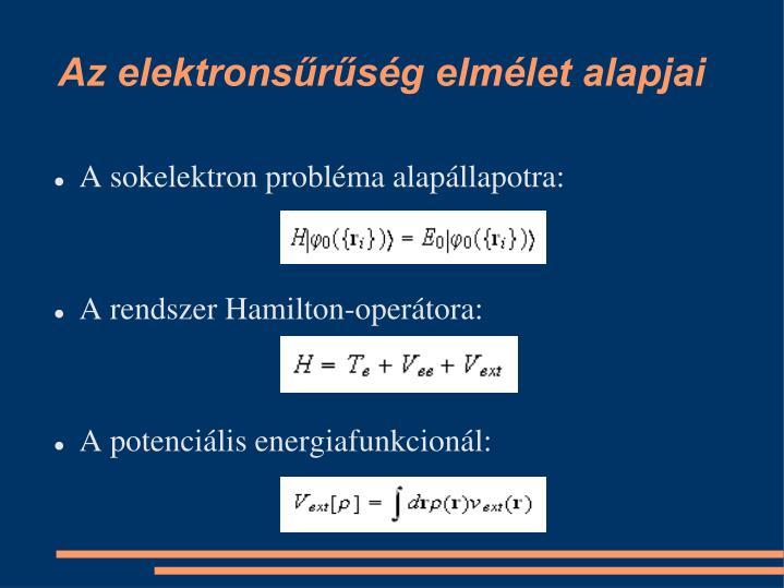 Az elektrons r s g elm let alapjai