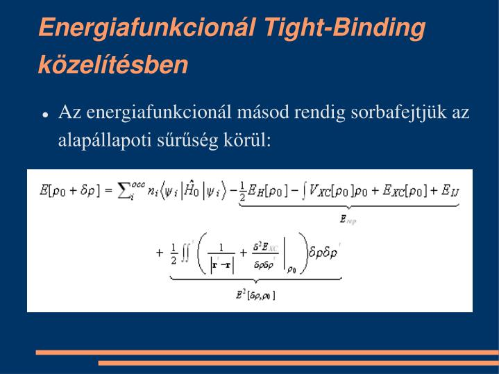 Energiafunkcionál Tight-Binding közelítésben