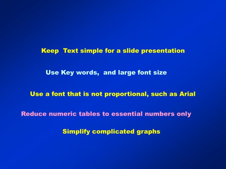 Keep  Text simple for a slide