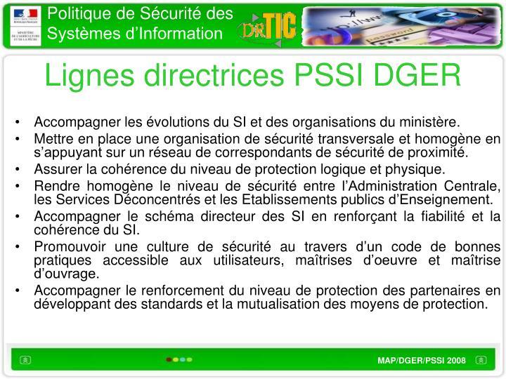 Lignes directrices PSSI DGER