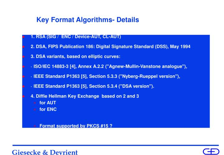 Key Format Algorithms- Details