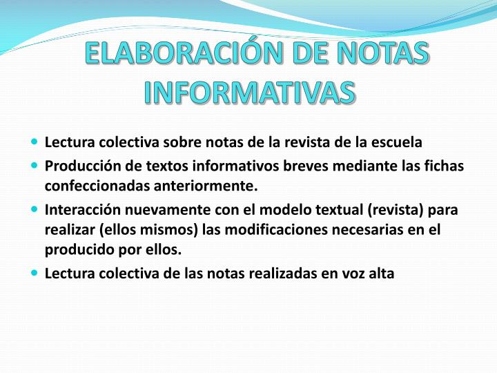 ELABORACIÓN DE NOTAS INFORMATIVAS