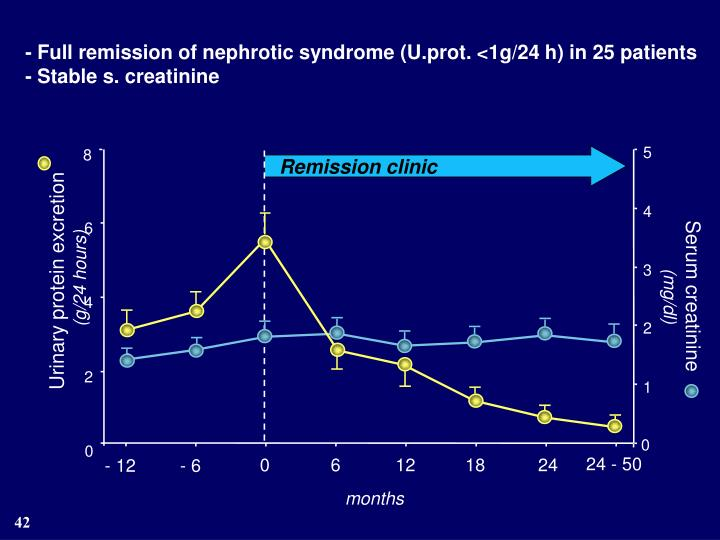 - Full remission of nephrotic syndrome (U.prot. <1g/24 h) in 25 patients