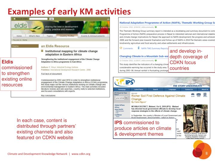 Examples of early KM activities