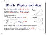 b 0 hh physics motivation