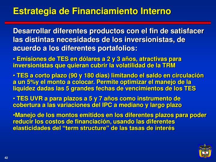 Estrategia de Financiamiento Interno