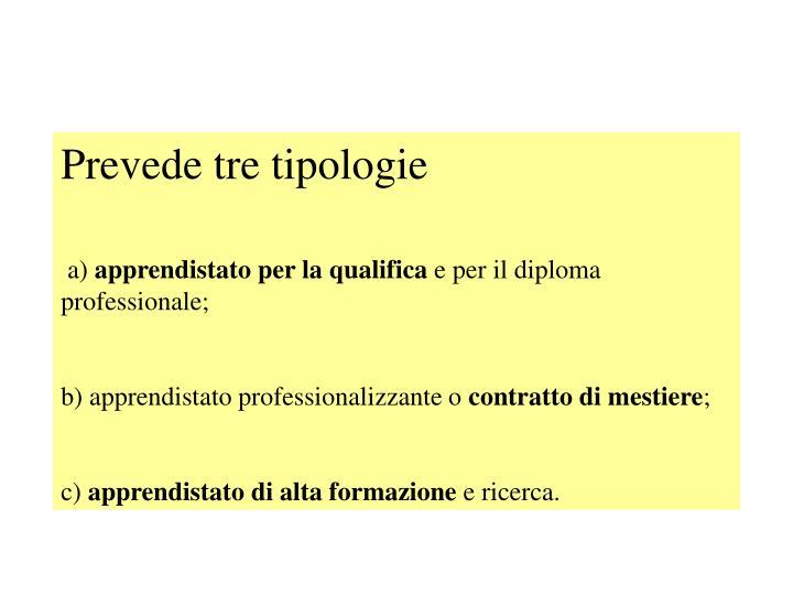 Prevede tre tipologie