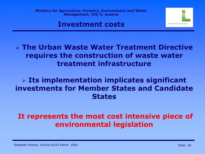the ministry and legislation of environment requirements of wastewater treatment plants effluents in