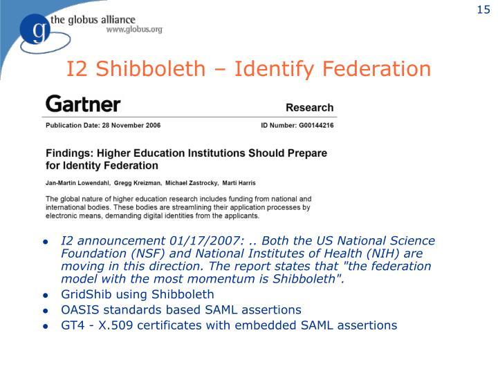 I2 Shibboleth – Identify Federation