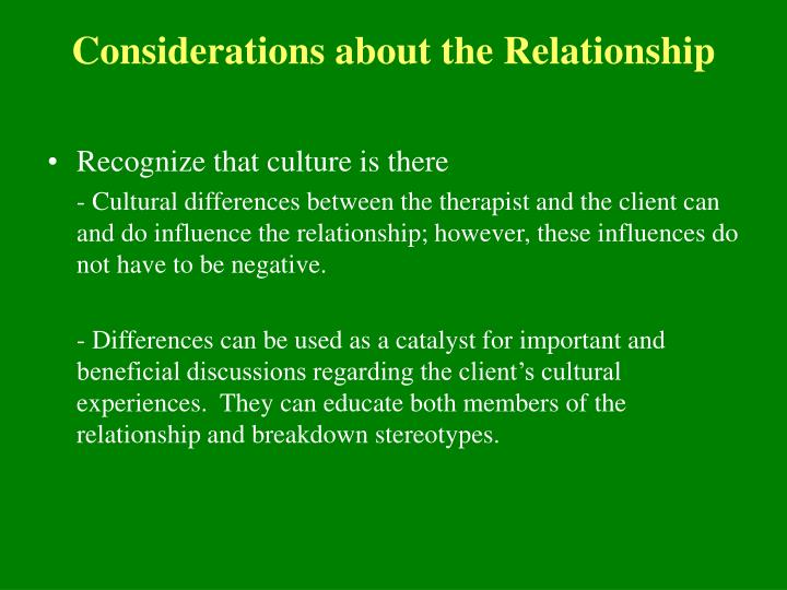 Considerations about the Relationship