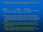safety and toxicity aspects of vit e