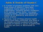 safety toxicity of vitamin c