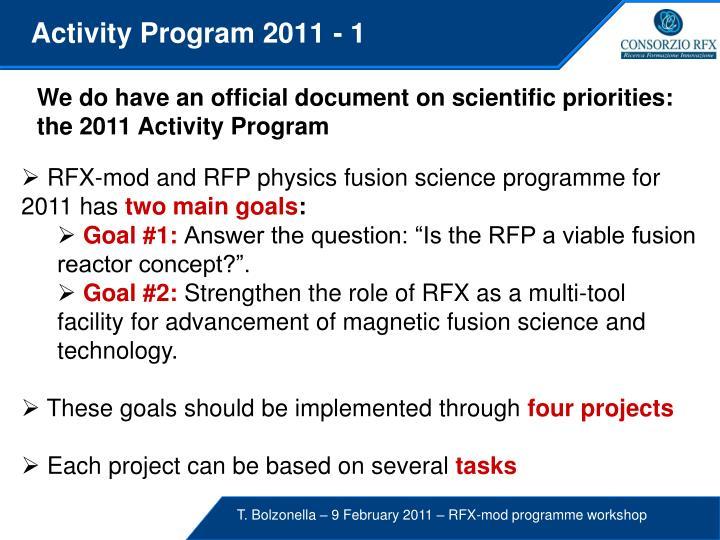 Activity Program 2011 - 1