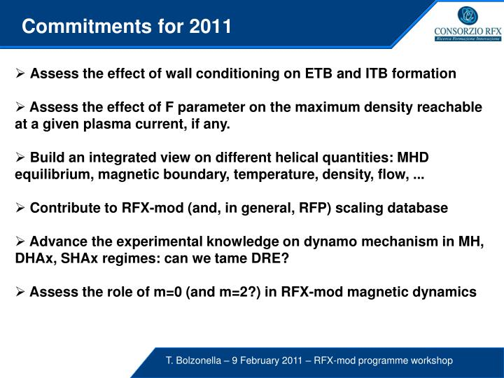 Commitments for 2011