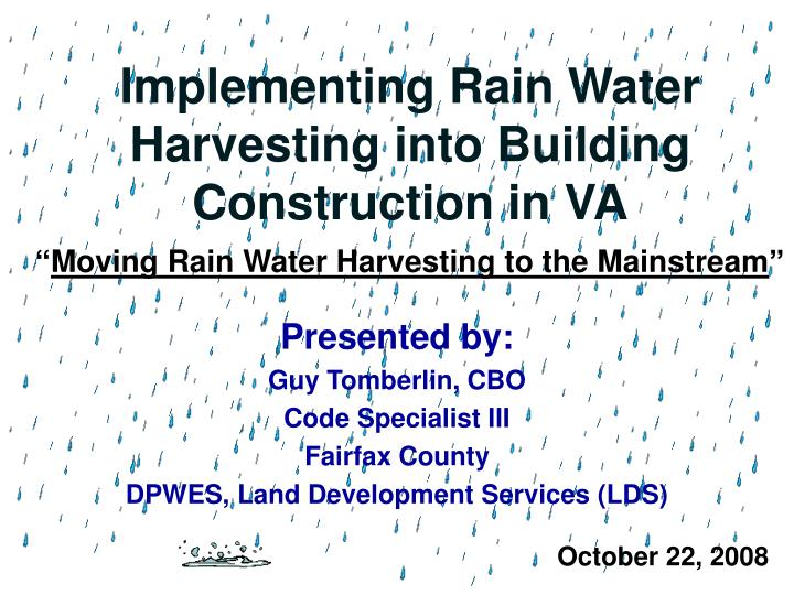 implementing rain water harvesting into building construction in va n.