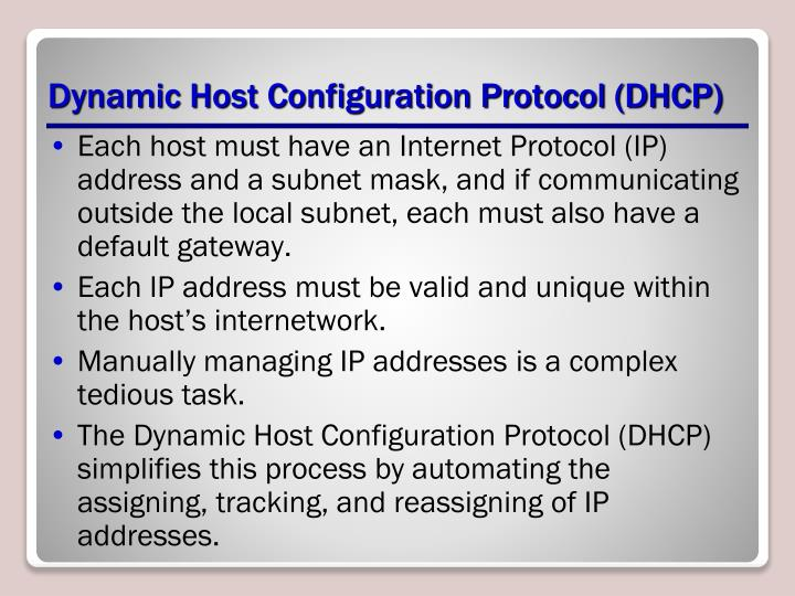 Dynamic host configuration protocol dhcp